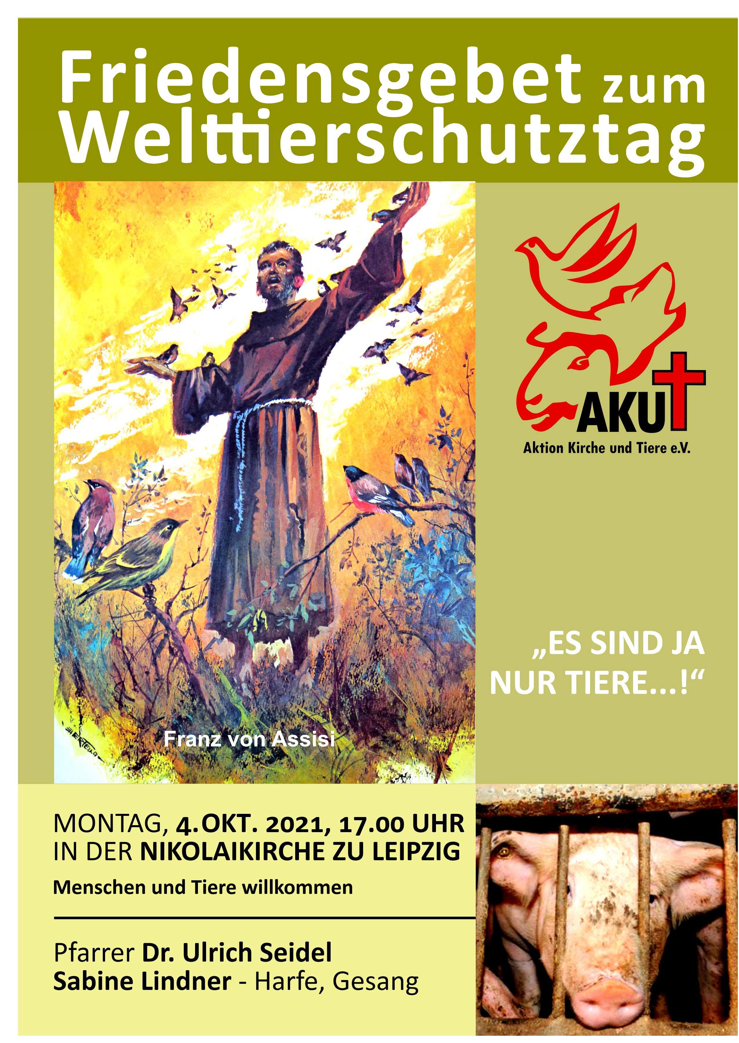 Plakat Friedensgebet mit Grafik von Franz von Assisi